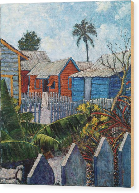 Tin Roofs And Clapboard Wood Print