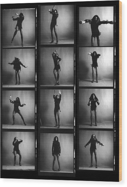 Tina Turner Contact Sheet Wood Print