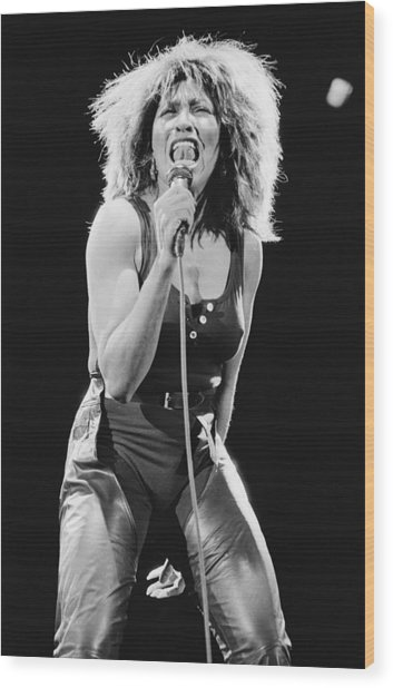 Tina Turner Wood Print by Fin Costello