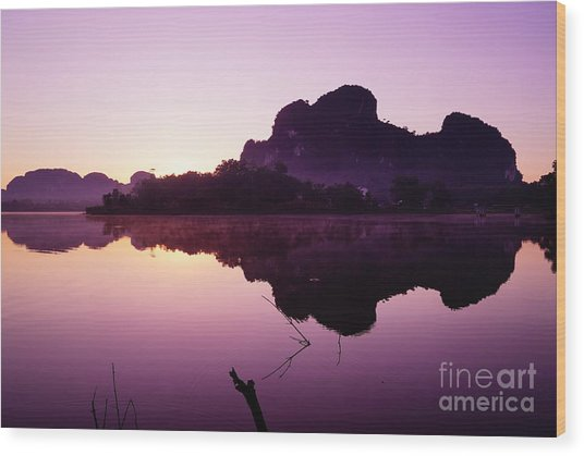Title  The Peaceful Mountain Wood Print by Pk Kaew