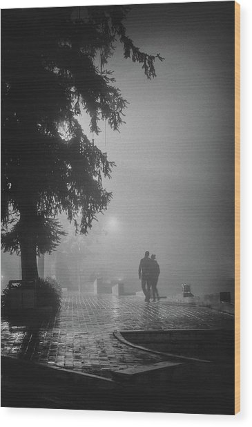 Together In Fog, Sa Pa, 2014 Wood Print by Hitendra SINKAR