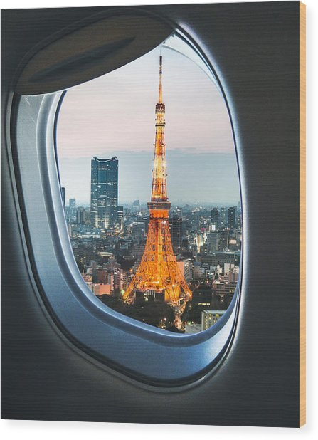 Tokyo Skyline With The Tokyo Tower Wood Print by Franckreporter