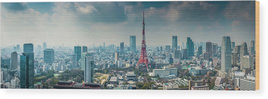 Tokyo Tower Futuristic Skyscraper Wood Print by Fotovoyager