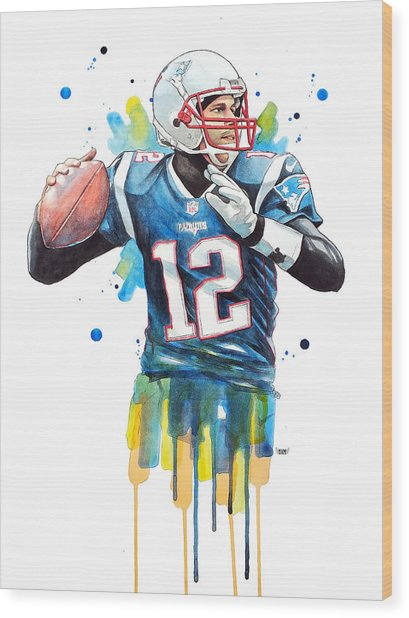 Tom Brady, Patriots, Nfl Wood Print