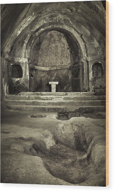 Tomb And Altar In The Monastery Of San Pedro De Rocas Wood Print