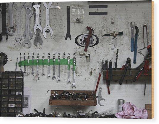 Tools In A Workshop Wood Print by Greg Burke
