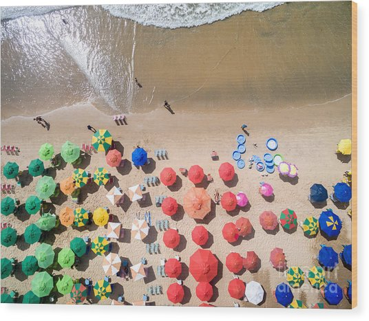 Top View Of Umbrellas In A Beach Wood Print