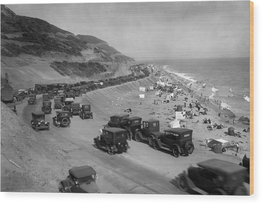 Topanga State Beach 1920 Wood Print