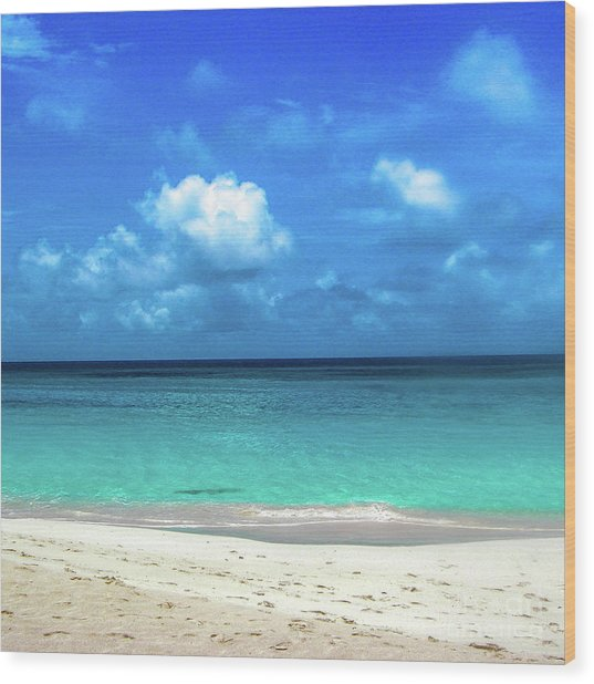 Topical Beach View Anguilla Wood Print