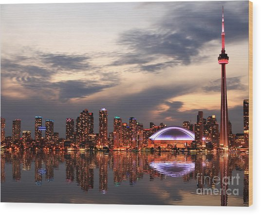 Toronto Skyline At Sunset, Ontario Wood Print