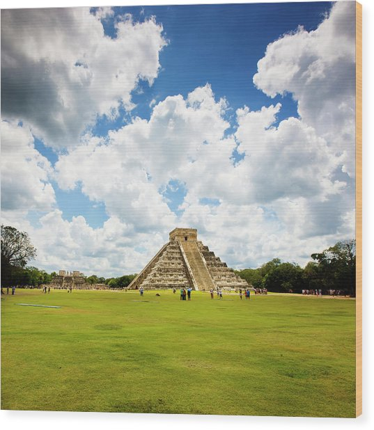 Tourism In Chichen Itza Wood Print