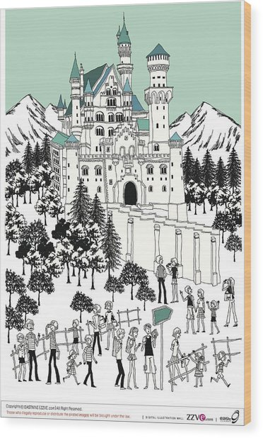 Tourist By Castle On Snow-covered Land Wood Print by Eastnine Inc.