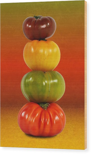 Tower Of Colorful Tomatoes Wood Print