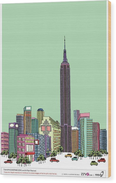 Tower With Buildings Against Clear Sky Wood Print by Eastnine Inc.