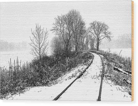 Tracks In Snow Wood Print