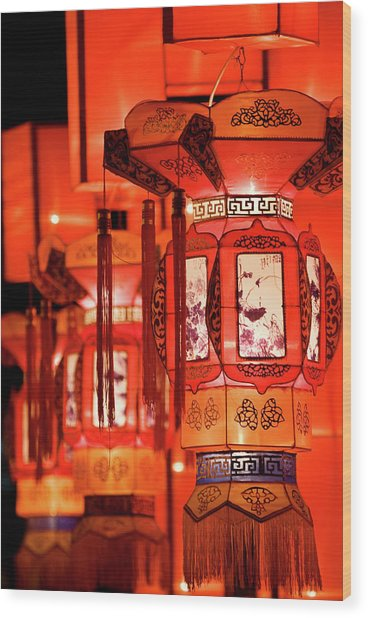 Traditional Chinese Lantern Wood Print by Ymgerman