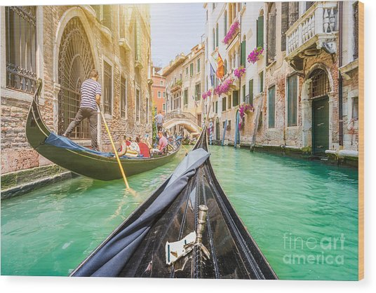 Traditional Gondolas On Narrow Canal In Wood Print