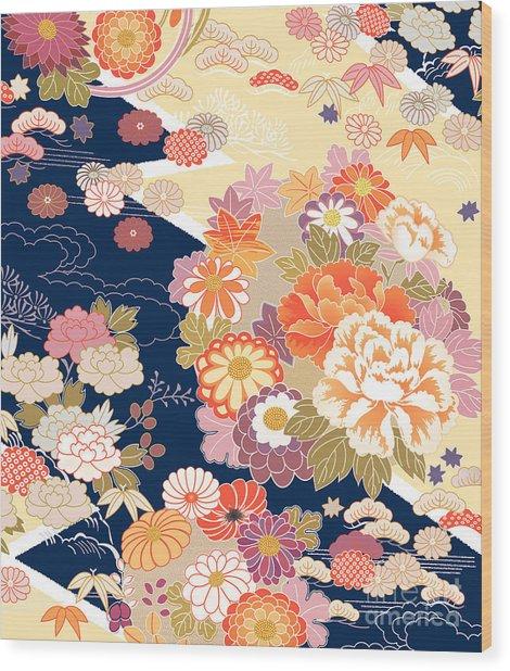 Traditional Kimono Motifs Wood Print