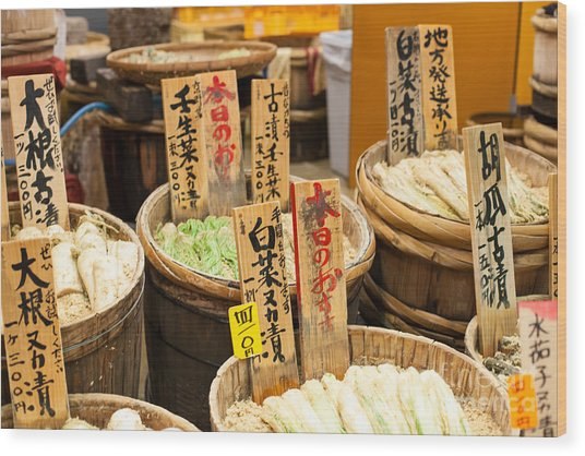 Traditional Market In Japan Wood Print