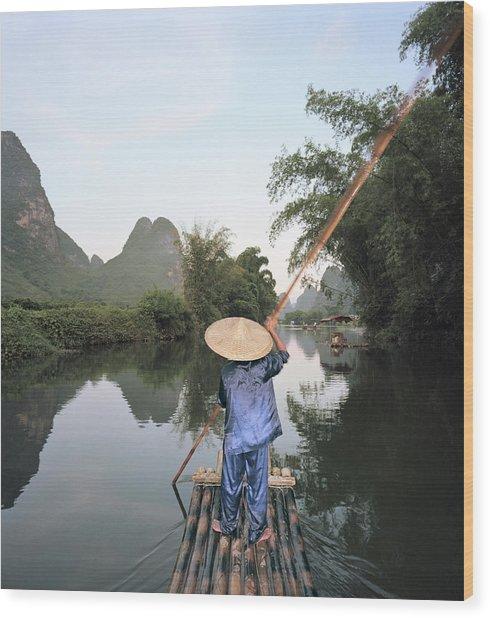 Traditional Raft On Yulong River Wood Print