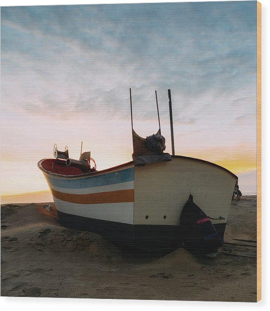 Traditional Wooden Fishing Boat Wood Print