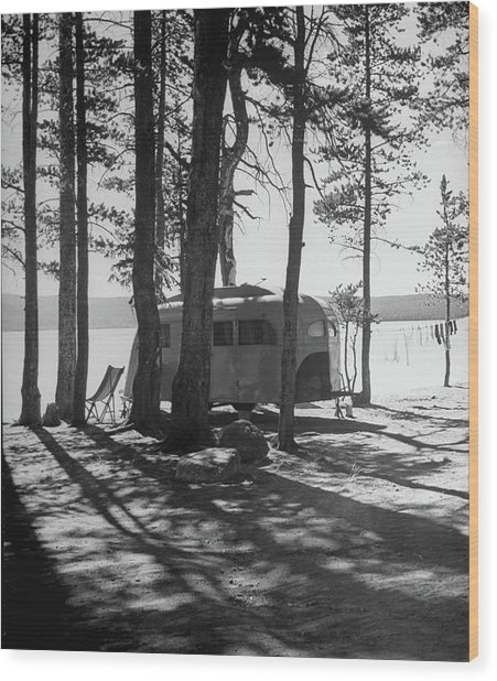 Trailer Park In Yellowstone National Wood Print by Alfred Eisenstaedt