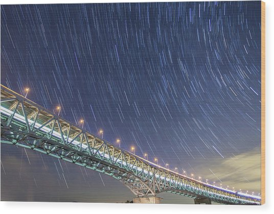Train, Car And Star Trails Wood Print