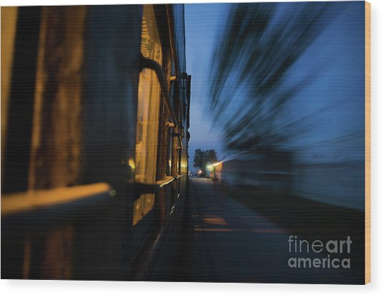 Train In Motion Wood Print