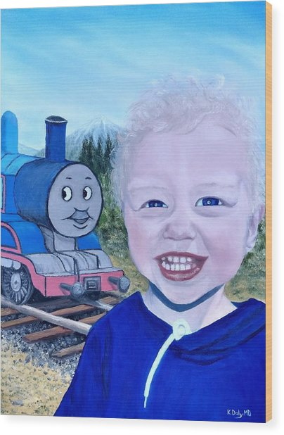 Wood Print featuring the painting Train by Kevin Daly
