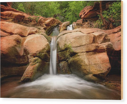 Wood Print featuring the photograph Tranquil Falls by Ryan Wyckoff