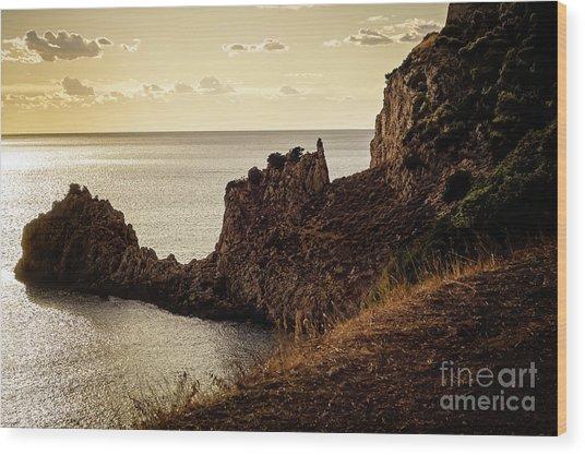 Tranquil Mediterranean Sunset    Wood Print