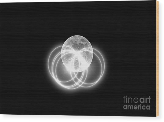 Wood Print featuring the photograph Transparent Moon Black And White by Patti Whitten
