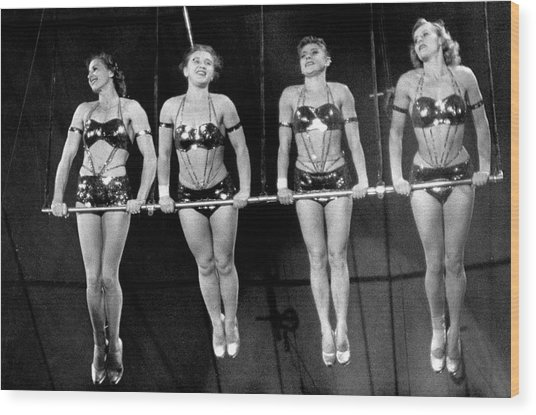Trapeze Acrobats Performing At A Circus Wood Print