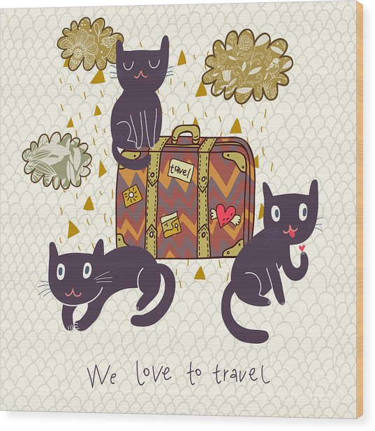 Travel Concept. Cute Cats And Suitcase Wood Print