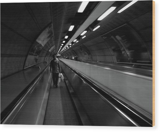 Wood Print featuring the photograph Travelator  by Edward Lee