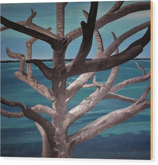Wood Print featuring the painting Tree And Beach by Joan Stratton