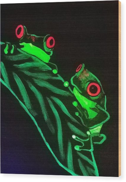 Tree Frogs  Wood Print