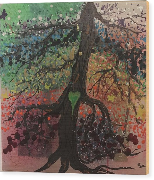 Tree Of Life Chakra Tree Wood Print