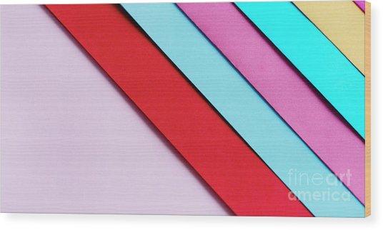 Trendy Pastel Colors In Geometry Shape Flat Lay. Colorful Rainbo Wood Print