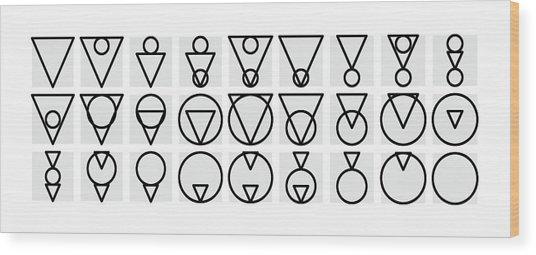 Tria-rcle Alphabet Mono Wood Print