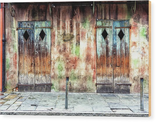 Triangle Doors At Preservation Hall In New Orleans Wood Print