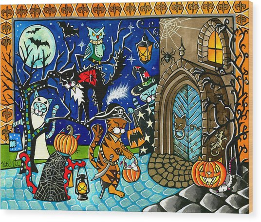 Trick Or Treat Halloween Cats Wood Print