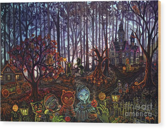 Trick Or Treat Sleepy Hollow Wood Print