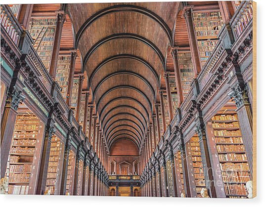 Trinity College Library In Dublin Wood Print by Delphimages Photo Creations