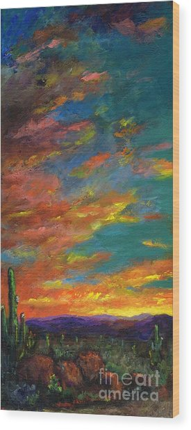 Triptych 1 Desert Sunset Wood Print