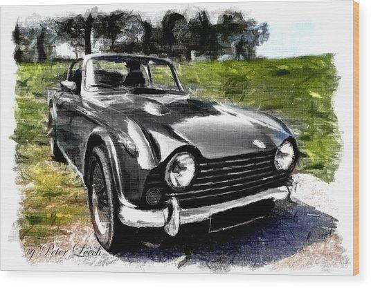 Triumph Tr5 Monochrome With Brushstrokes Wood Print