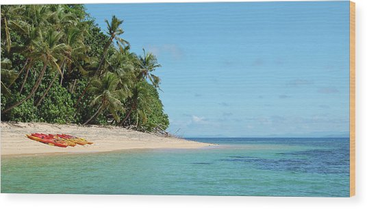 Tropical Beach Island Kayaking Wood Print by Opulent-images