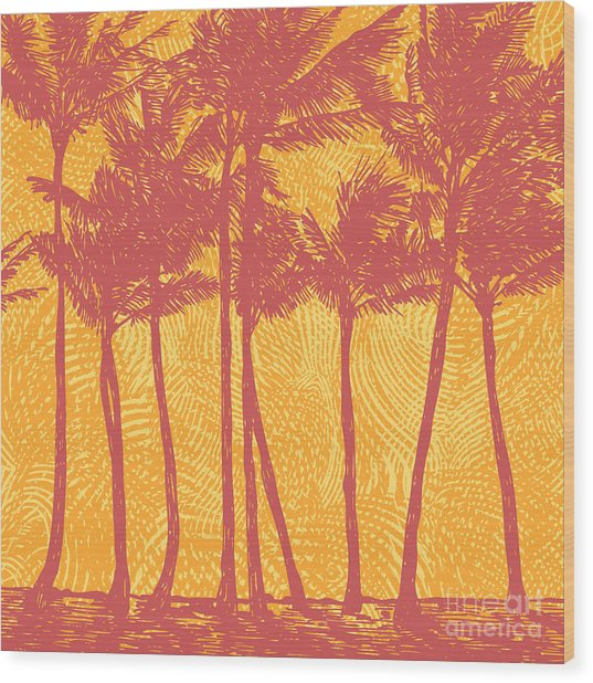 Tropical Coast With Palms. Vector Wood Print
