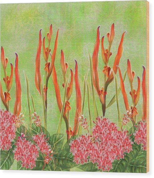 Tropical Floral Print Lime Green Batik Wood Print