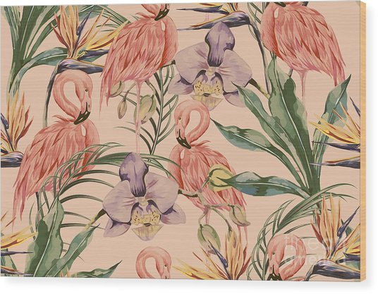 Tropical Flowers, Palm Leaves, Jungle Wood Print